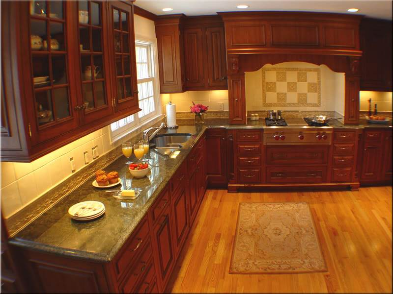 Image of: Rustic Cherry Kitchen Cabinets