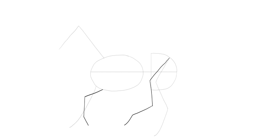 horse in canter simple drawing