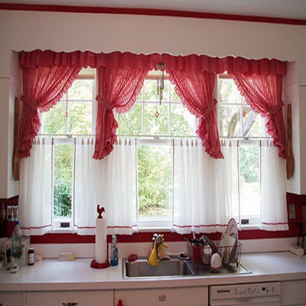 Image of: Red Kitchen Valances