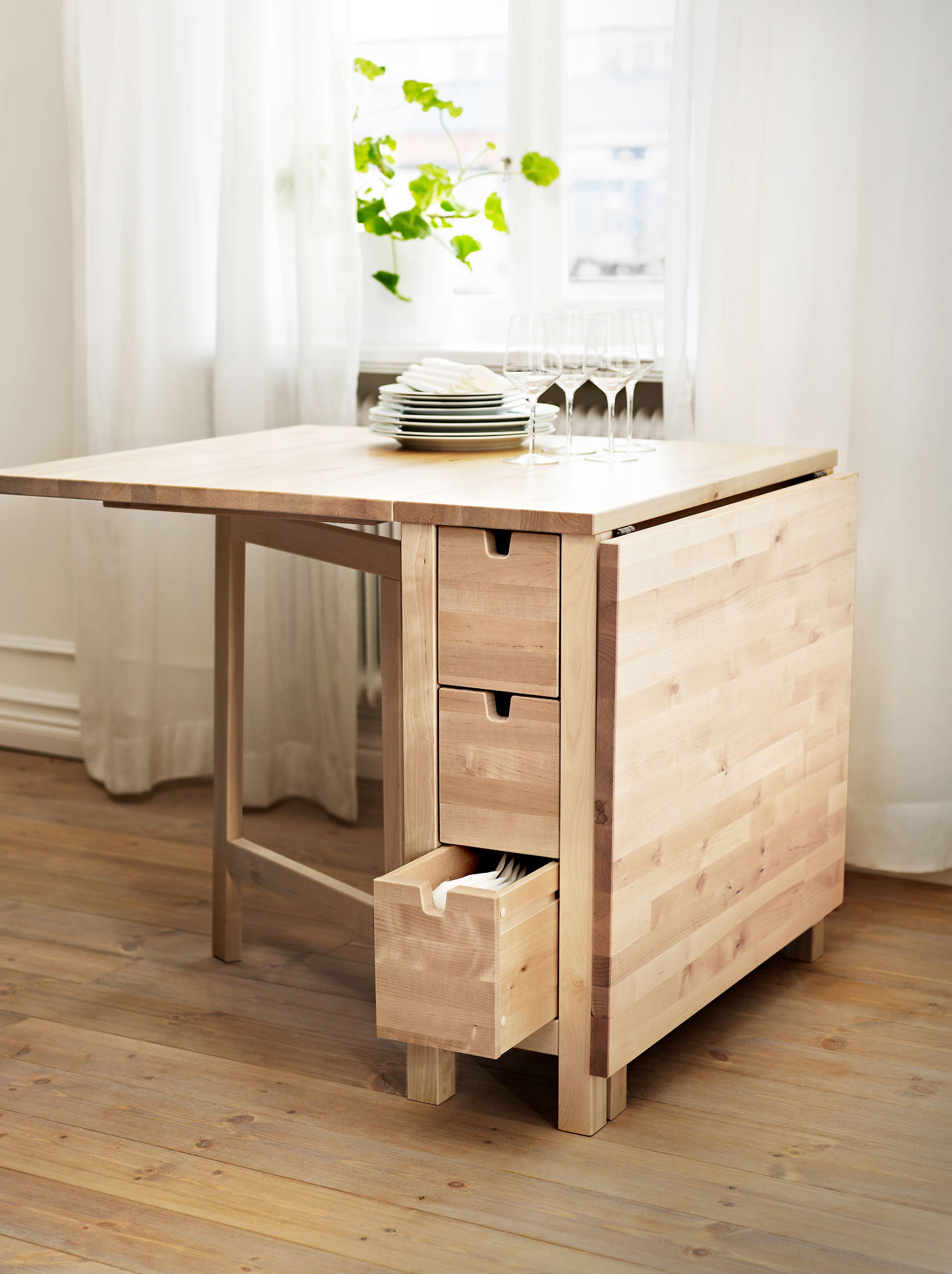 Image of: Drop Leaf Kitchen Table with Storage