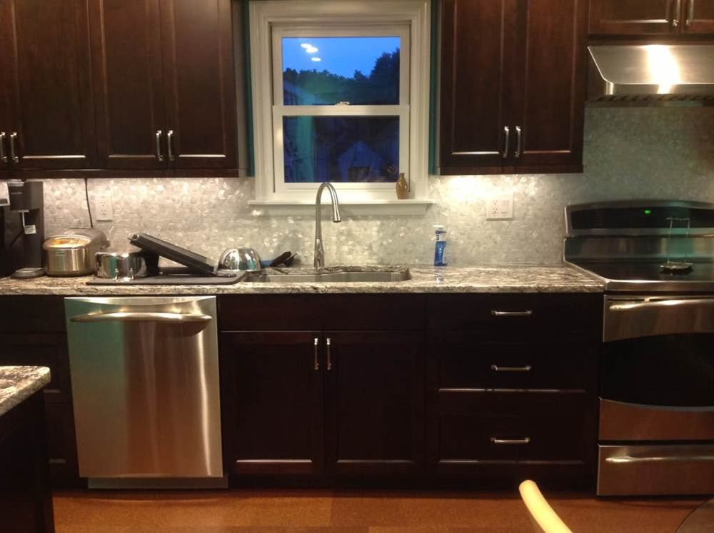 Image of: Espresso Maple Kitchen Cabinets