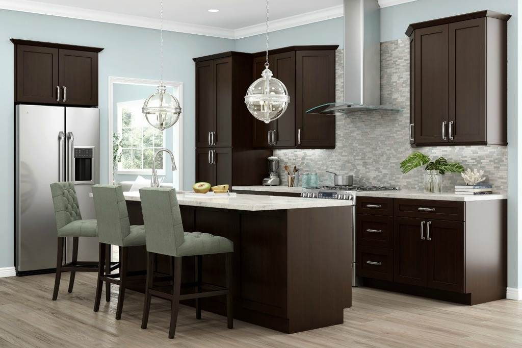 Image of: Espresso Kitchen Cabinets Wholesale