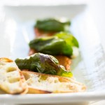 Queso Stuffed Padron Peppers Over Romesco #AppetizerWeek
