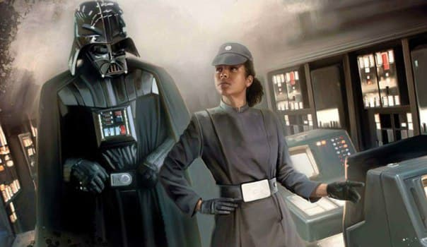 Admiral Rae Sloane with Darth Vader
