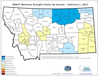 Montana Drought Status by County: January 2017