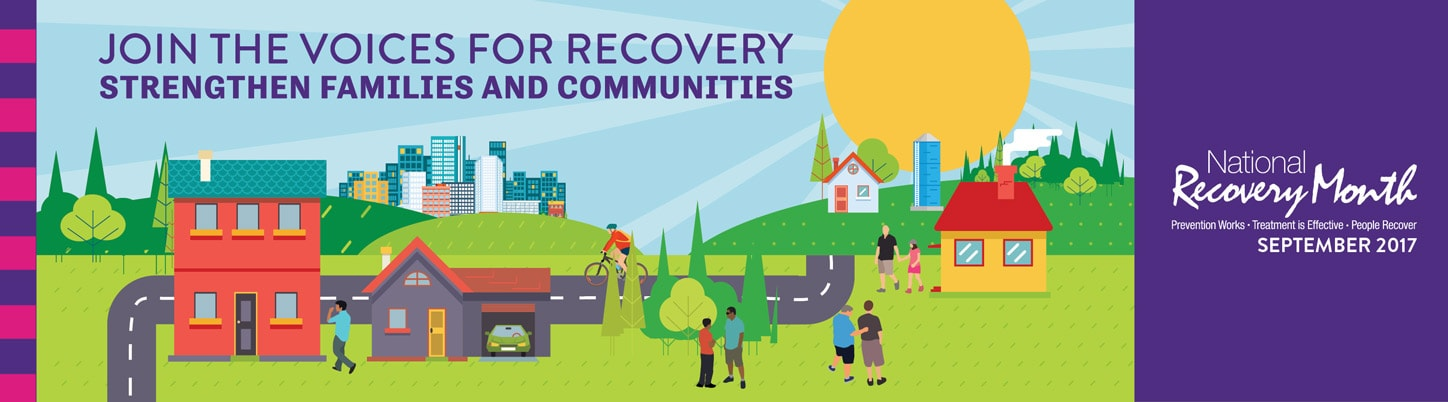 Recovery Month banner - Join the voices for recovery. Strengthen families and communities