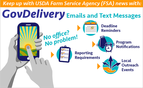 To   receive GovDelivery email or text message notifications, subscribe online or contact your county FSA office for subscription assistance.