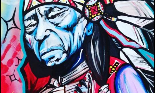 """Black Elk,"" Acrylic and Aerosol Paint on Canvas, © 2016 Tammy Eagle Hunter"