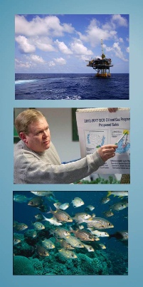 Graphic showing offshore platform, man giving presentation, and school of ocean fish