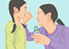 Illustration of a woman applying insect repellant to a girl