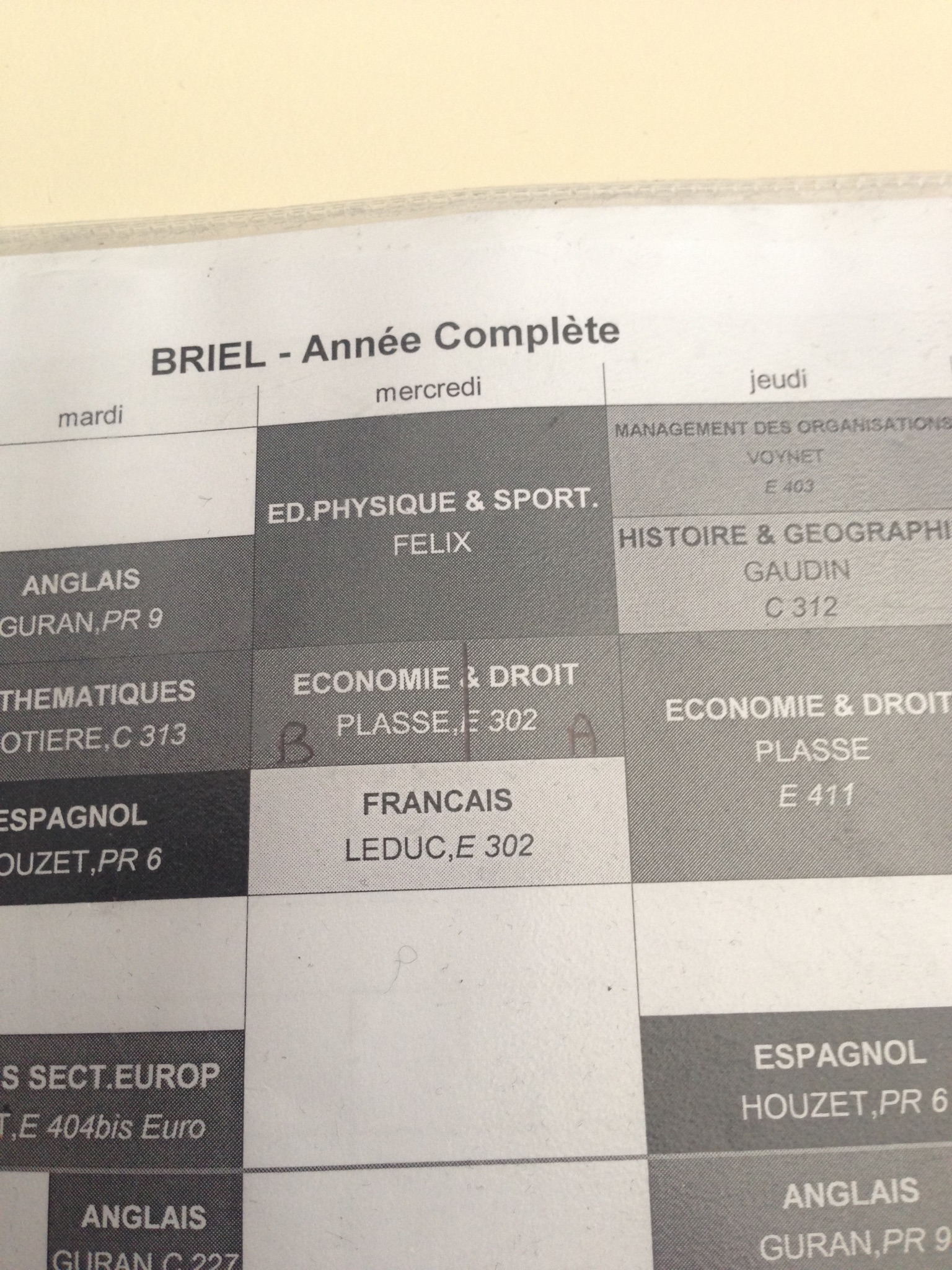French student schedule