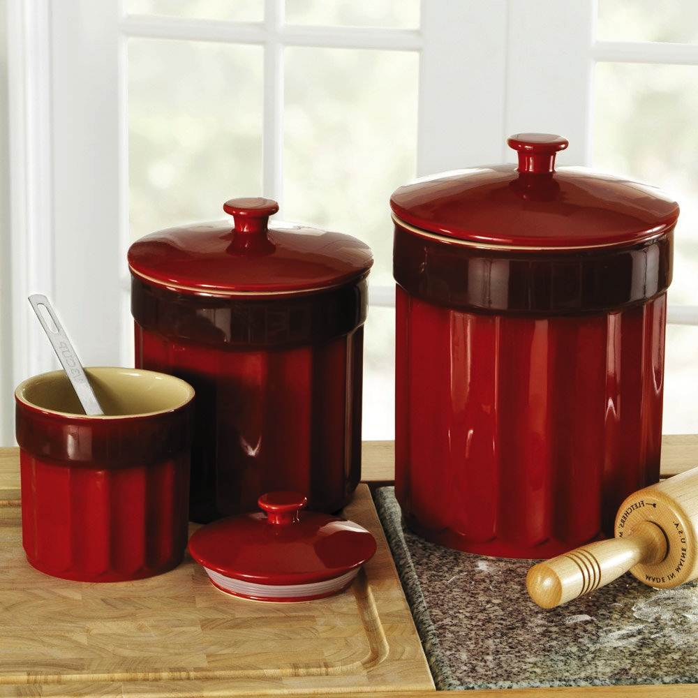 Image of: Red Kitchen Canister Sets