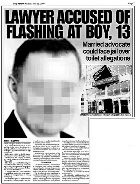 Lawyer accused of flashing at boy, 13 -  Daily Record April 13 2006