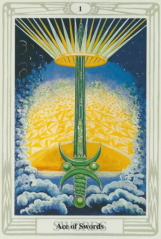 Ace of Swords from Crowley's Thoth Tarot Deck, a depiction of illumination through ritual sodomy?
