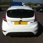 Paint protection installed to rear bumper