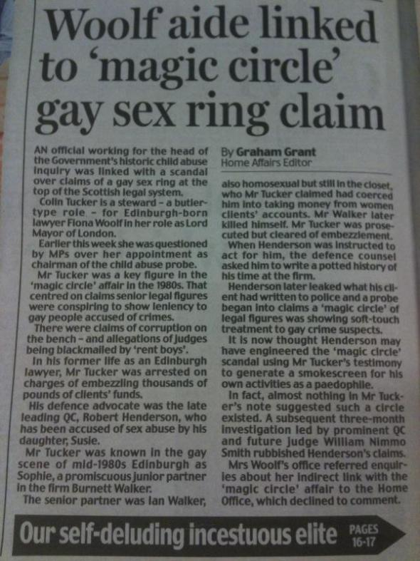 Mail 261014 - Woolf aide linked to 'magic circle' gay sex ring claim