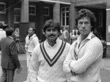 Javed Miandad and Imran Khan await a team photograph the day before the 2nd Test England v Pakistan Lord's Jun 1987. PHOTO: AFP