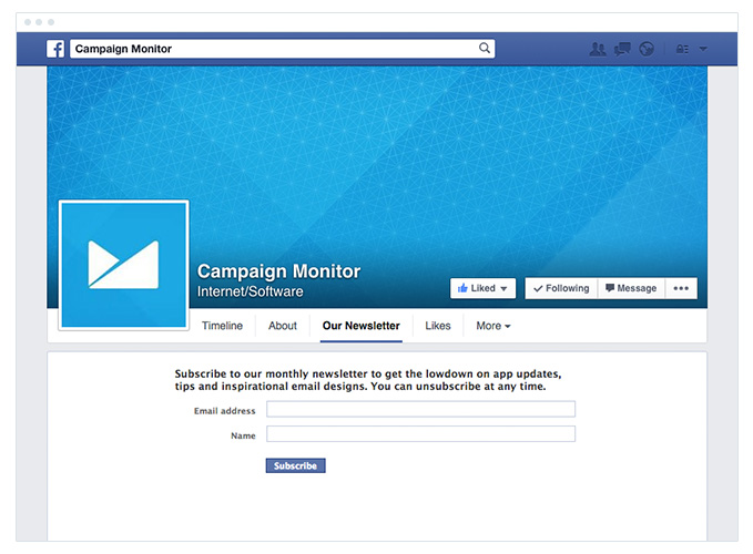Campaign Monitor - Facebook Application