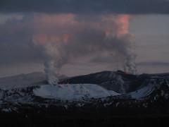 Volcanic eruption between Myrdalsjokull and Ey...