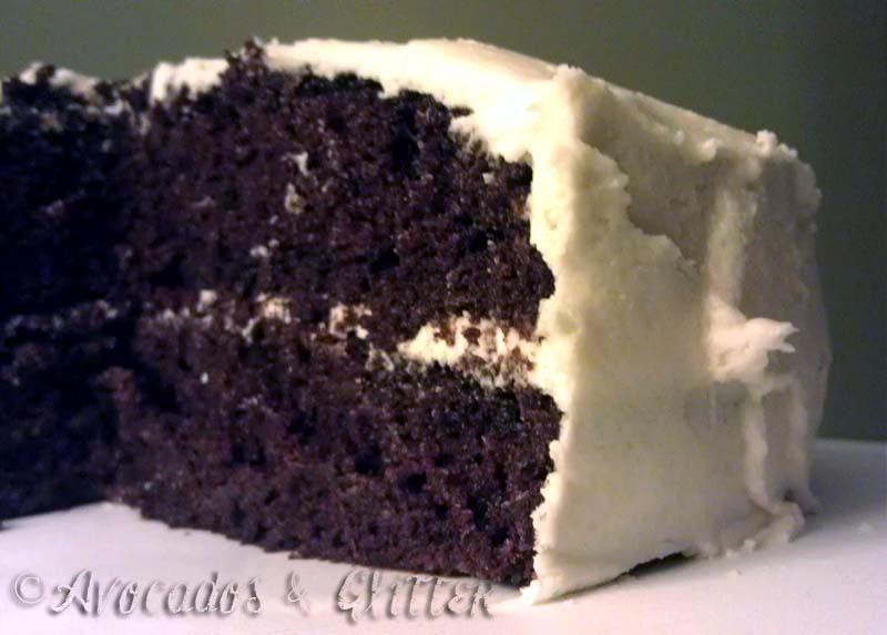 Classic chocolate with vanilla frosting, veganized