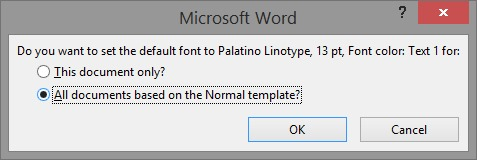 Change Word 2013 2010 font and font size default settings