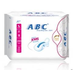 【日用专场】ABC卫生巾纤薄纯棉柔夜用280mm*8片/包 健康清凉