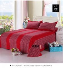 全棉老粗布 三件套 加厚床单枕套 学生被单 大红杂条 2m(6.6英尺)床