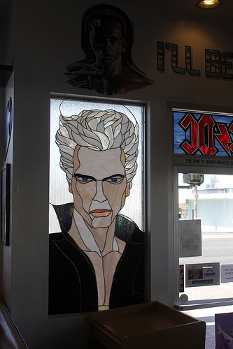 Stained-glass window at The Breakfast Club, Oceanside