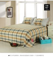 全棉老粗布 三件套 加厚床单枕套 学生被单 灰绿格子 2m(6.6英尺)床