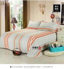 全棉老粗布 三件套 加厚床单枕套 学生被单 黄灰细条 2m(6.6英尺)床