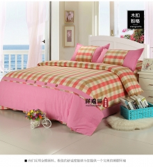 老粗布 床上用品四件套 纯棉 简约格子四件套床品 粉色格子 1.5m-2m(5-6.6英尺)床