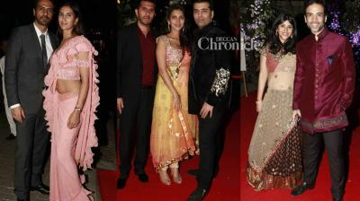 Numerous Bollywood celebrities were spotted at the wedding reception of Renu Chaniani and Aditya Garware in Mumbai on Monday. (Photo: Viral Bhayani)