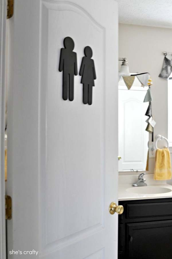 23.) Put a sign on your bathroom so guests know where it is.