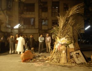 Holi bonfire with scrap to save trees