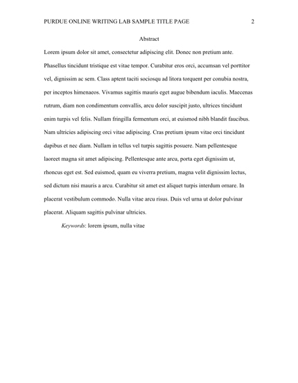 This image shows the Abstract page of an APA paper.
