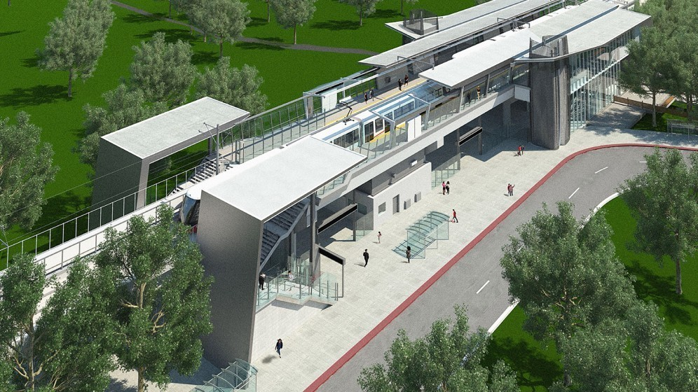 [March 2017 Hurdman Station exterior rendering]