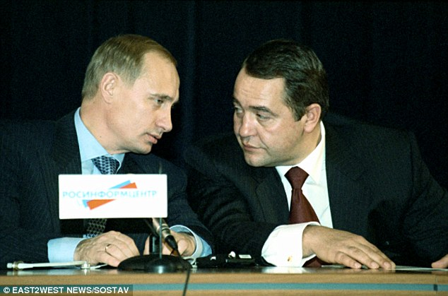 Longstanding association: Mikhail Lesin had known Vladimir Putin before the Russian strongman took control of the Kremlin and was nicknamed 'the Bulldozer' for getting the media to dance to Putin's tune
