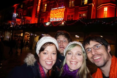 A quick pic in front of Rocky Horror, which we went to see a few days ago