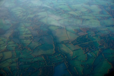 A bare spot of green english fields