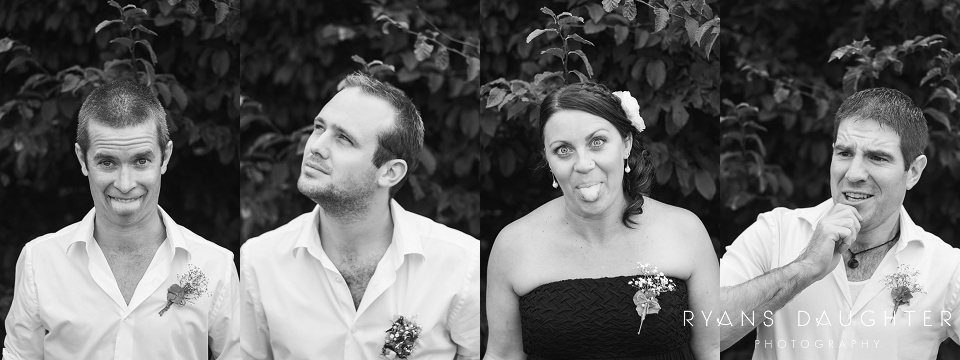 Black and White tryptich of bridal party members pulling silly faces