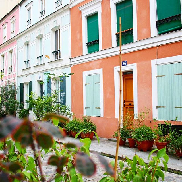 I was exploring this street in Paris and I think I took over 200 photos of the colorful homes 💃🏻✈💕✨ #Paris #France #Europe @raileurope #RediscoverDiplomat