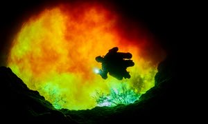 Scuba diver at Devils Eye, with red water from Santa Fe river, near Ginnie Springs