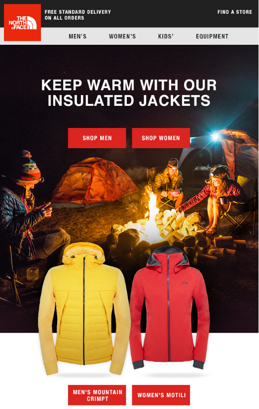 North Face newsletter