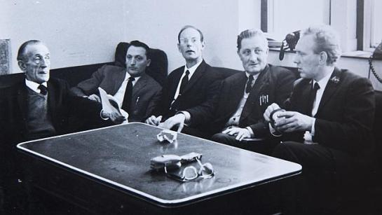 Chauffeurs for the Australian high commission in London in the 1970s, including the boys' father, Thomas Allen, fourth from left, who has since died.