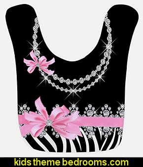Zebra Print With Pink Bow & Diamonds