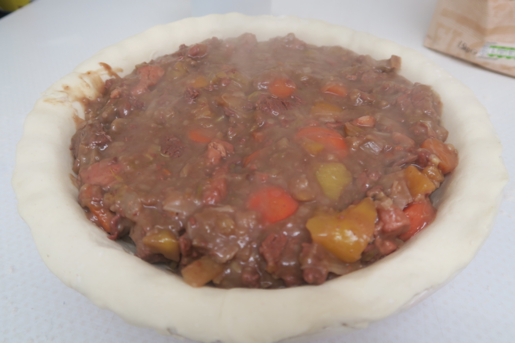 Filled beef and bacon pie