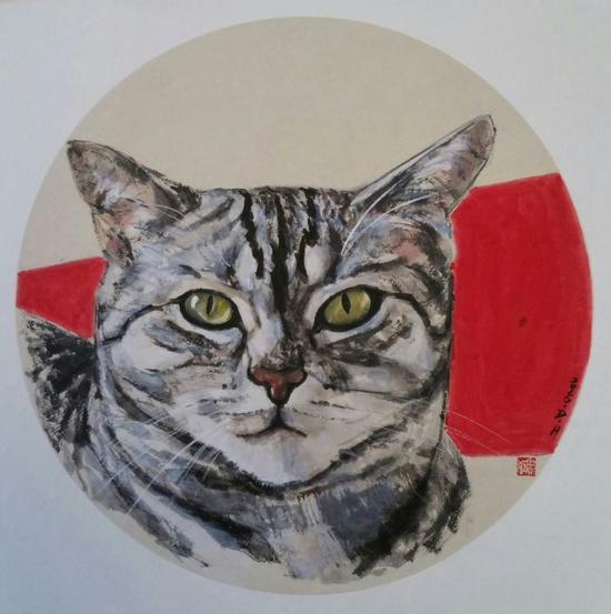 《宠物猫》窦红  国画作品    直径33cm