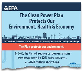Torn image showing the top portion of a the larger Clean Power Plan Protects Our Environment, Health and Economy  infographic