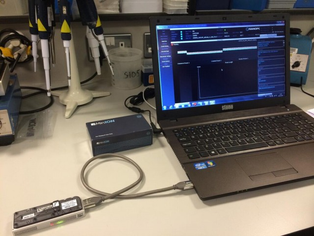 The MinIon USB gene sequencer, plugged into a laptop
