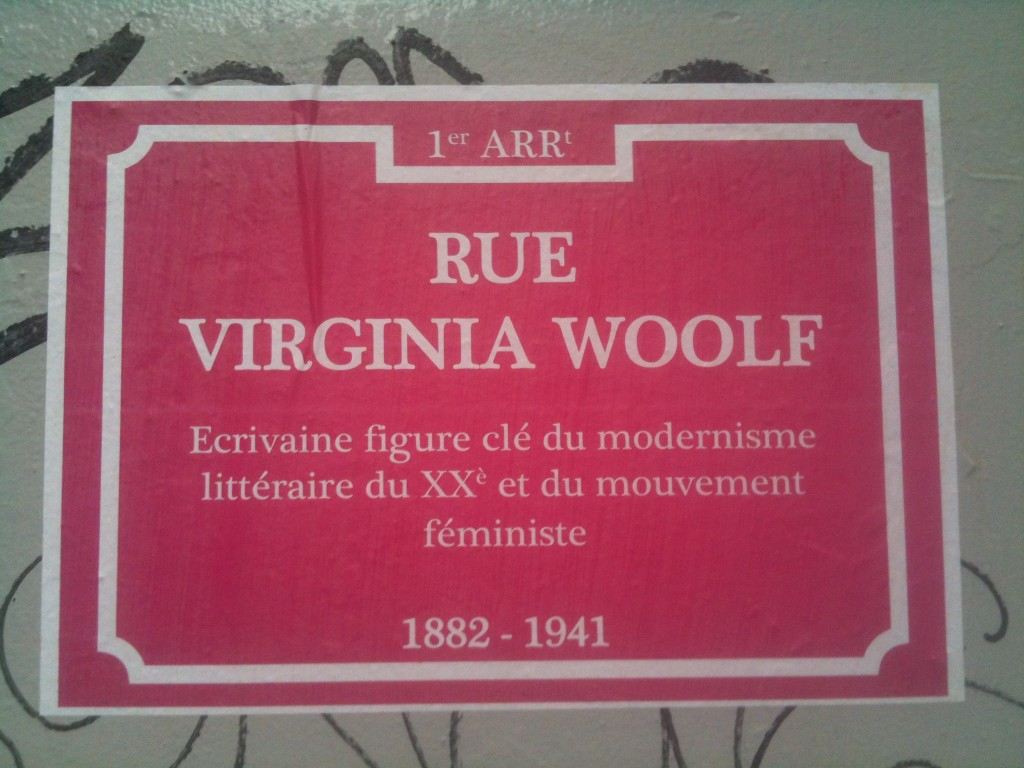 Plaque de rue Virginia Woolf à Lyon